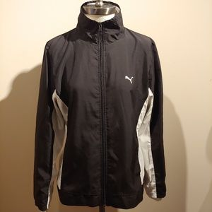 PUMA Black & White Lightweight Windbreaker Jacket